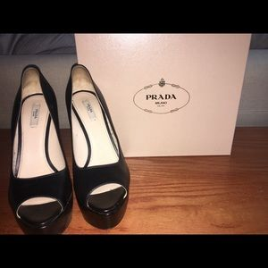 Black Leather Prada Peeptoe Platform Pumps